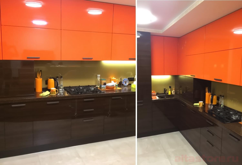 оранжевая кухня с белым акрил фото отправилась